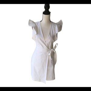 A.L.C. White Linen Ruffle Dress / Size 2
